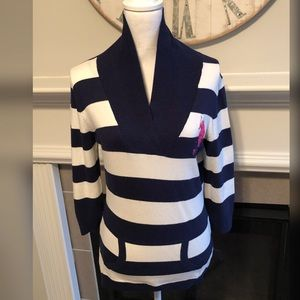 US Polo Assn Navy and White Striped V Neck Sweater
